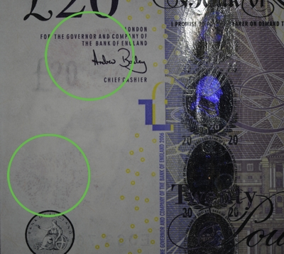 DFO is used to visualise fingerprints on a banknote